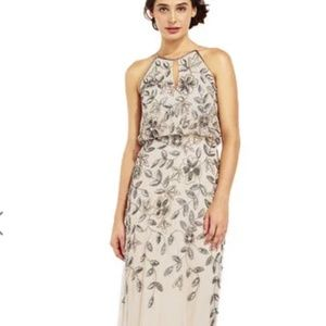Adrianna Papell Floral Beaded Blouson Halter Gown